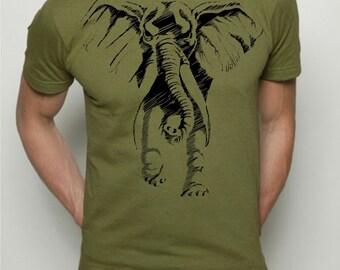 Mens t-shirt, Elephant shirt, Alabama shirt, mens graphic tee, American Apparel, alabama tshirt, football, stripe t-shirt, gift for him