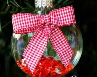 Rouge blanc diamant verre disque ornement, ruban Satin, ruban Vichy, campagne Chic Woodland suspendus décor d'arbre de Noël vacances