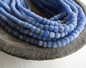 Small blue seed glass beads, matte ceil Blue , irregular spacer tube barrel , indonesia New Indo-pacific 3 to 6  mm  / 22 in strand  - 7ab51