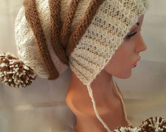 Striped Alpaca Hat - Hand Knit