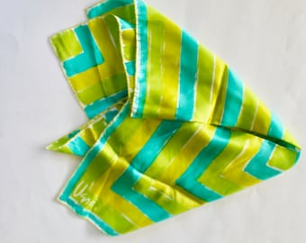 Vintage 1950s/1960s Bright Green and Blue Abstract Geometric Print Silk Scarf by Vera Neumann
