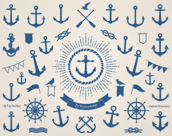 """Anchor Clip Art: """"Sea Anchor"""" nautical clipart with digital images of anchor"""