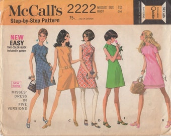 1969 Misses' Dress McCall;s 2222 Size 12 Bust 34