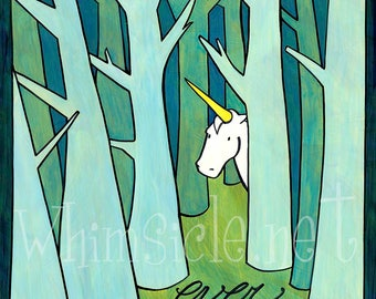 "Unicorn Art Print inspired by fortune cookies ""Ever Wonder"" matted"