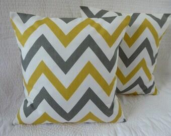 Cojín almohada tiro cubierta algodón 16 pulgadas 40cm azafrán mostaza amarillo gris Zig Zag impresión hecha a mano