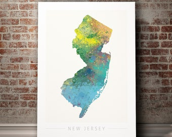 New Jersey Map - State Map of New Jersey - Art Print Watercolor Illustration Wall Art Home Decor Gift - NATURE PRINT