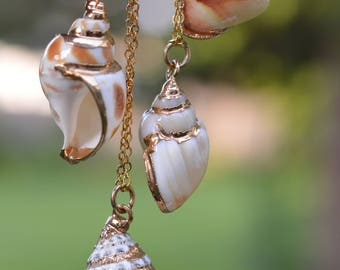 Seashell Pendant Necklace with Gold Accent - Choose your style