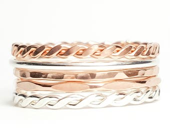Thin Stacking Rings Rose Gold and Sterling Silver- Set of 5, Rose Gold Filled Rings