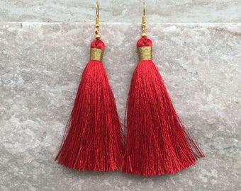 Rote ohrringe lang