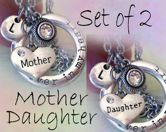 Set of 2 Mother Daughter Necklaces, Forever in My Heart Personalized w-Letter Charms of Your Choice, Mother Daughter Gift, Mom Gift