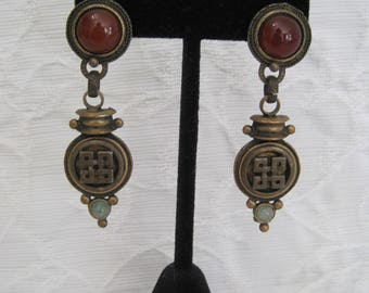 Robert Rose Earrings Designer Fashion Chinoiserie Asian Motif Bronze Carnelian Glass 1980s