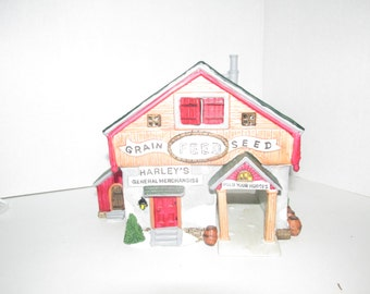 """Vintage 1993 Lemax """"Harley's General Merchandise"""" General Store Lighted Christmas House"""