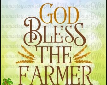 God Bless the Farmer Digital Design Print or Cut High Quality 8.5 x 11 inch Chalkboard Print 300 dpi Jpeg Png SVG EPS DXF InstantDownload