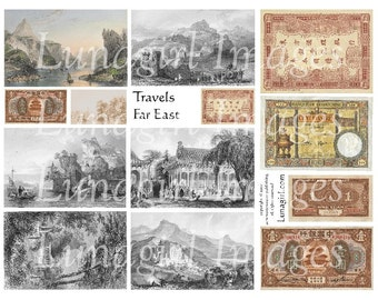 Travels FAR EAST digital collage sheet vintage images Asian Chinese Japanese pictures antique money altered art ephemera printables DOWNLOAD