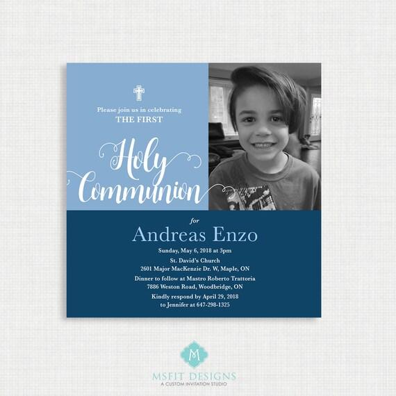 Printable Communion Invitation- Boy Baptism Invitation - Baby Dedication, First Communion, Confirmation, Christening