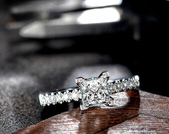 Moissanite Engagement Ring Solitaire 14K Gold - The Westmount Ring