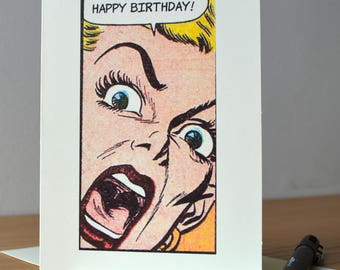 Unusual Birthday Card, Humorous Birthday Card, Comic Art, Cute Love Card, For her, For him, For Boyfriend, For Girlfriend