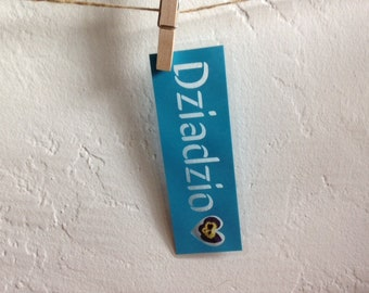 Dziadzio (Grandpa in Polish) paper cut out laminated bookmark with a pressed flower from Poland