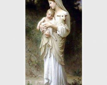 William Adolphe Bouguereau,  L'innocence.  Shepherdess with baby &  lamb,  Lamb of God, religious art, antique art, canvas art prints, Jesus