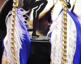 Blue & White Feathered CUSTOM EARRINGS