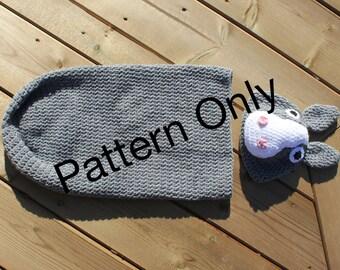 Donkey Cocoon Newborn 0-3 months Crochet Pattern, Donkey Set, Donkey Hat, Newborn Costume, Photo Prop, Baby