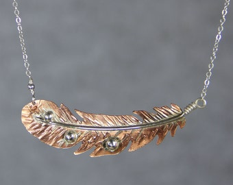 Sterling silver copper angel feather pendant necklace Free US Shipping handmade Anni designs