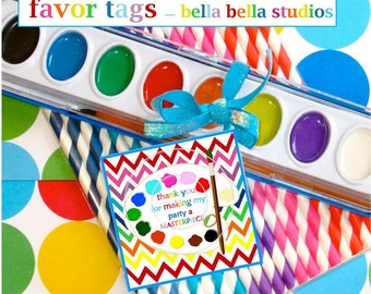 PAINTING Party FAVOR TAGS ~ Printable Instant Download