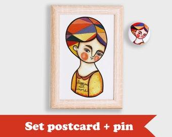 SET autumn portrait postcard & red girl portrait brooch
