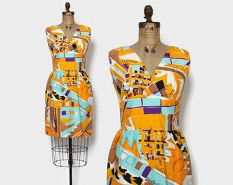 Vintage 60s Abstract Sheath Dress / 1960s Bright Graphic Print Sleeveless Dress