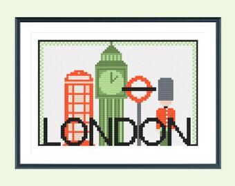 Cross stitch pattern, london cross stitch, city cross stitch pattern, modern cross stitch, travel cross stitch, instant download
