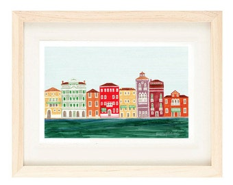 VENICE, ITALY - 5 x 7 Colorful Illustration Art Print, Venetian Architecture Italian Design, Canal, Red, Wall Decor