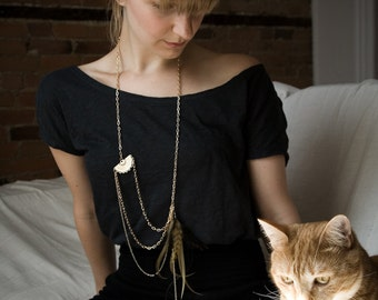 NOEMIAH - Dylan - Feather and Chain Necklace