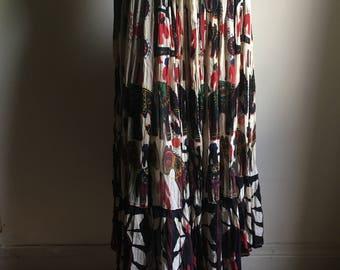 Beautiful Unique African Print Gauze Cotton Drawstring Mid Full Skirt