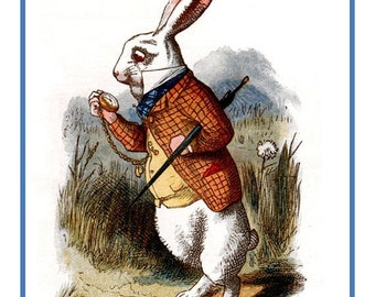 SPRING SALE The Dapper White Rabbit. .From  Alice in Wonderland Counted Cross Stitch Chart / Pattern....FREE Shipping