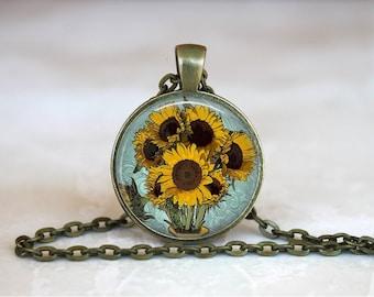 SUNFLOWERS Pendant •  Van Gogh Sunflowers • Van Gogh Jewelry •Vincent Van Gogh • Sunflower Art • Gift Under 20 • Made in Australia (P0164)