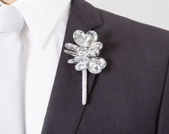 Mirrored Flower Crystal Boutonniere - Grooms Boutonniere - Silver Boutonniere - Mens Wedding Boutonnieres - Bling