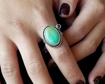 Turquoise Ring - Size 7.75 & Custom Size - Sterling Silver