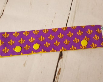 """Gold Fleur de Lis on Purple Long Needle Cozy - project holder 8""""x2"""" - (Hold up to 7"""" Needles), DPN holder NCL0003"""