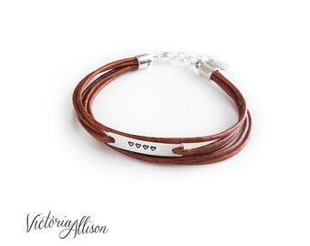 4 Hearts Bracelet, Leather Bracelet, Heart, Faux Wrap Bracelet, Sterling Silver, Cinnamon Color, Mom, Mother, New Mom, Ready to Ship