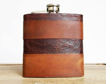 Initialled Leather Flask, Hand engraved hip flask, custom groomsmen gift, personalised flask for him, recycled leather hip flask customised