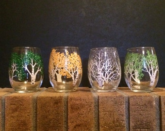 4 season hand painted wine glasses/ Aspen Trees stemless