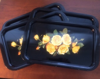 Black Metal Tray with Yellow Roses (Six Available)