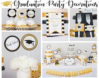 Graduation Party Decorations - Printable Graduation Party - Gold Black Graduation Party Decorations by Printable Studio