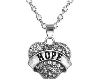 1 pc Hope Crystal Heart Charm Pendant, Antique Silver Hope Crystal Rhinestone Heart Charm Pendant, Hope Charm Pendant, USA Seller, 21mm C300