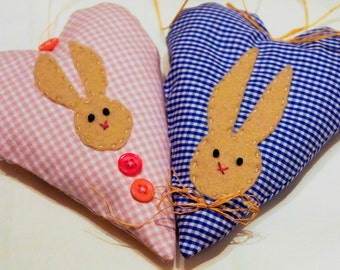 Heart easter ornament, with felt bunny, set of 2, blue and pink, checked, easter decor, Housewarming home decor