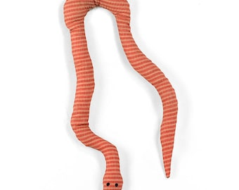 catnip snake, cat toy, kitty toy, catnip toy, cat snake toy, orange striped fabric
