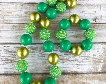 Green Bubblegum Necklace, St Patricks Day Chunky Necklace, St Pattys Day Toddler Jewelry, Baby Necklace, Chunky Bubblegum Kids Necklace