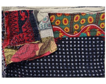 Ethnic Floral Design ,One of Kind,Indian Handmade ,Reversible Twin Size Quilt ,Vintage Kantha Quilt ,Throw Quilt #1005