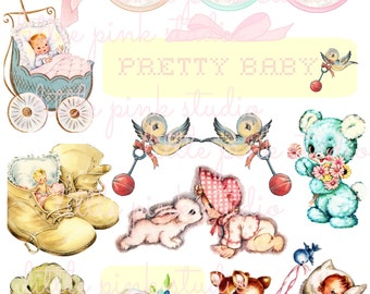 Pretty Baby,   Printable Collage Sheet (digital download, printable)