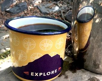Camping Mug – Explore –  Apricot – 350mL/12 oz volume – Coffee Cup – Mountain Love – Dishwasher Safe